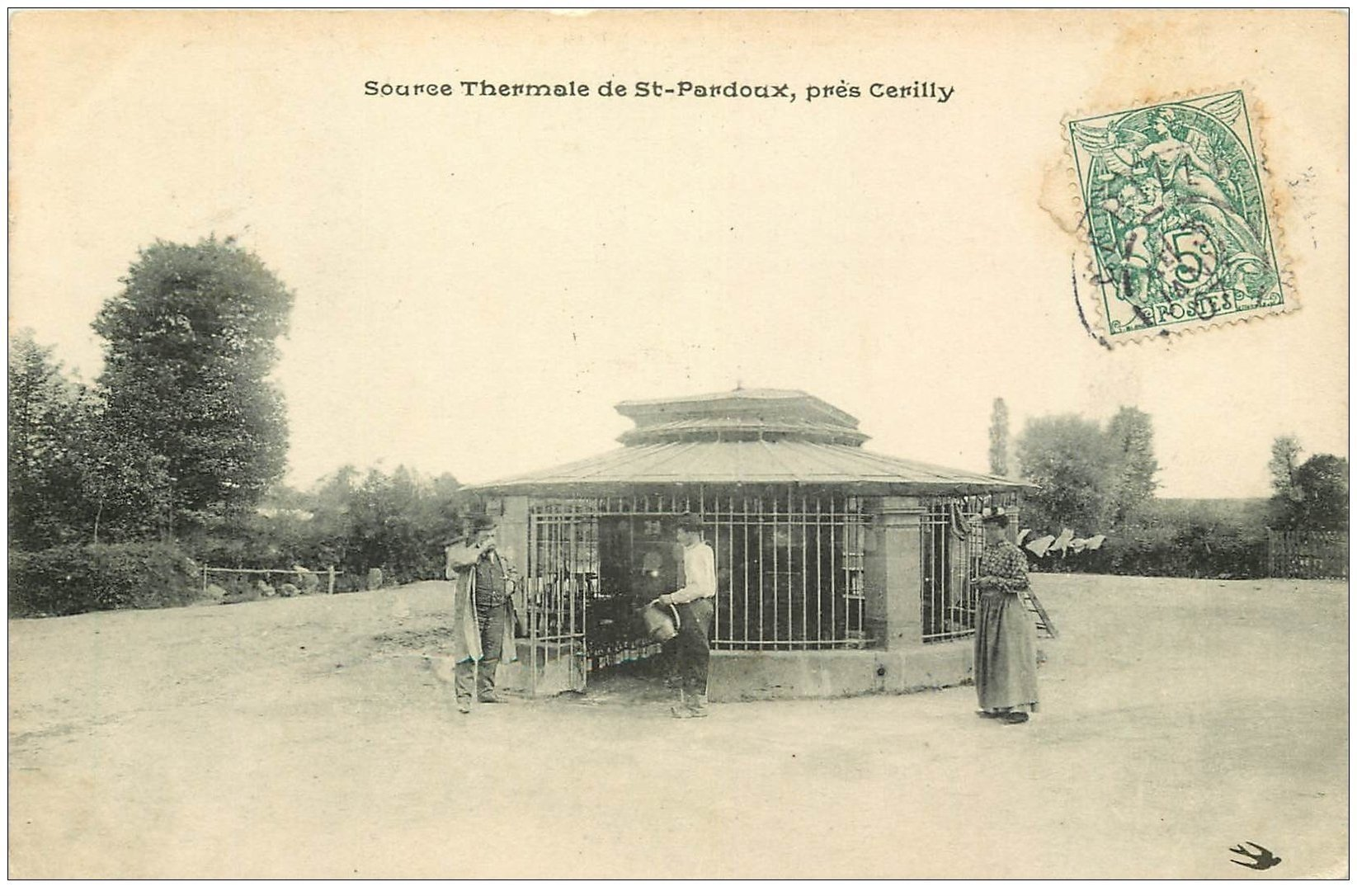 carte postale ancienne 03 SAINT-PARDOUX. Source Thermale 1907
