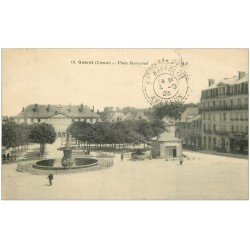 carte postale ancienne 23 GUERET. Fontaine Place Bonnyaud 1923