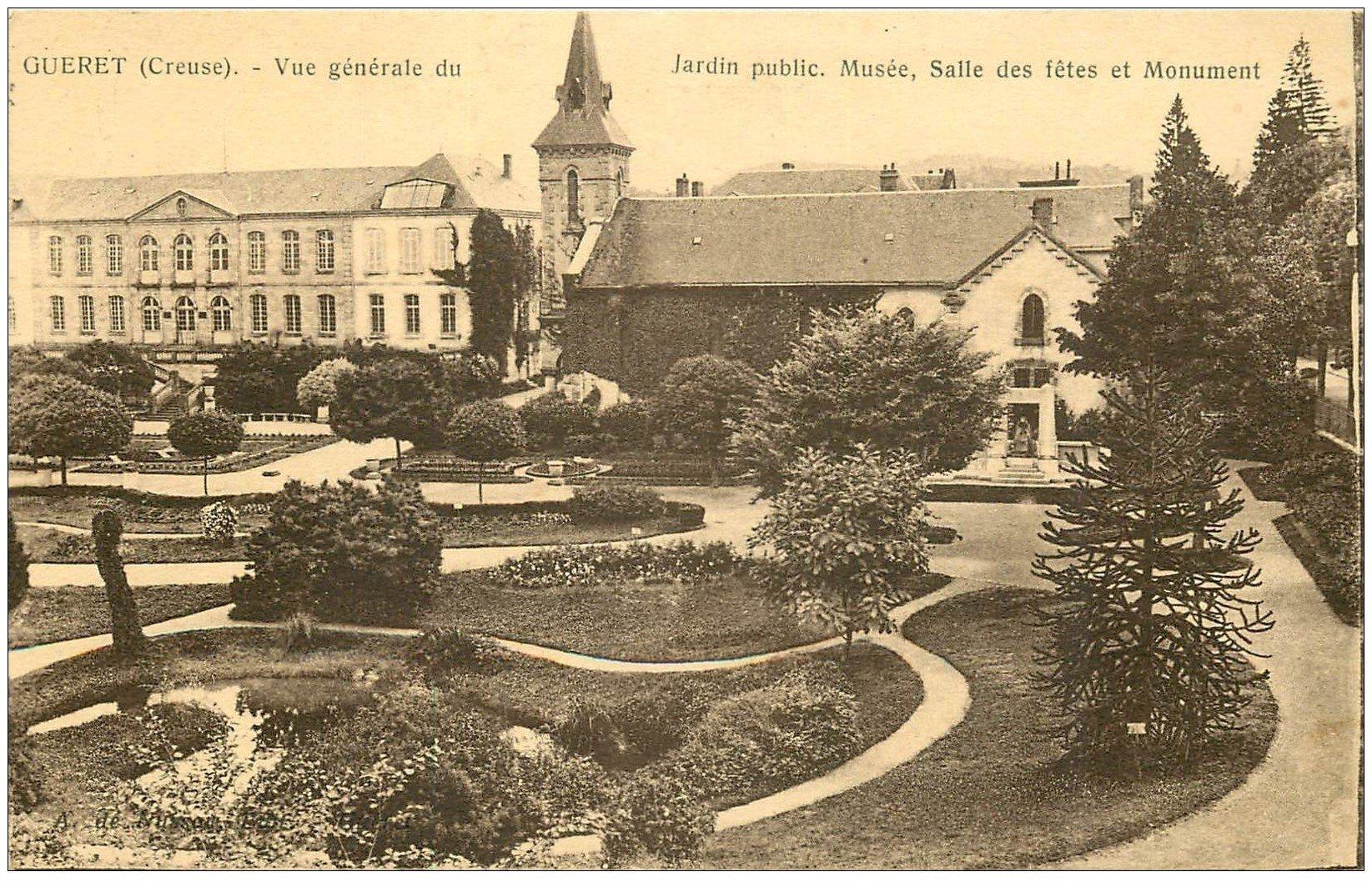 carte postale ancienne 23 GUERET. Musée, Salle des Fêtes et Jardin 1931