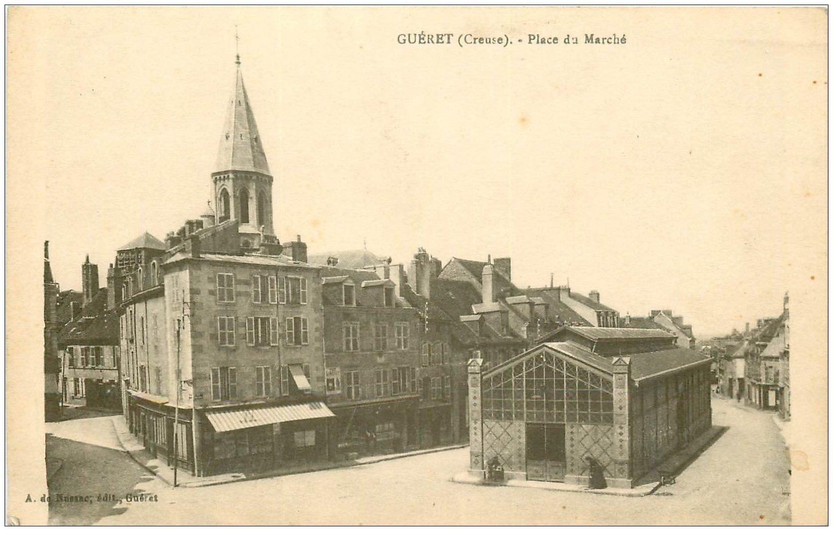 carte postale ancienne 23 GUERET. Place du Marché Couvert avec Fontaines