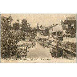 carte postale ancienne 03 SAINT-POURCAIN-SUR-SIOULE. Le Bief de la Sioule. Lavandières 1919