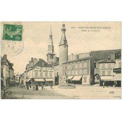 carte postale ancienne 03 SAINT-POURCAIN-SUR-SIOULE. Place de la Mairie 1913 Librairie Papeterie