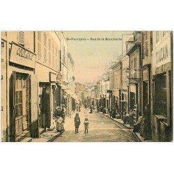 carte postale ancienne 03 SAINT-POURCAIN-SUR-SIOULE. Rue de la Boucherie. Superbe carte toilée
