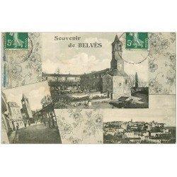 carte postale ancienne 24 BELVES. Multivues 1908