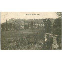 carte postale ancienne 24 BELVES. Paysanne et Vaches 1933
