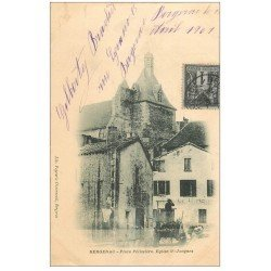 carte postale ancienne 24 BERGERAC. 1901 Eglise Saint-Jacques Place Pélissière