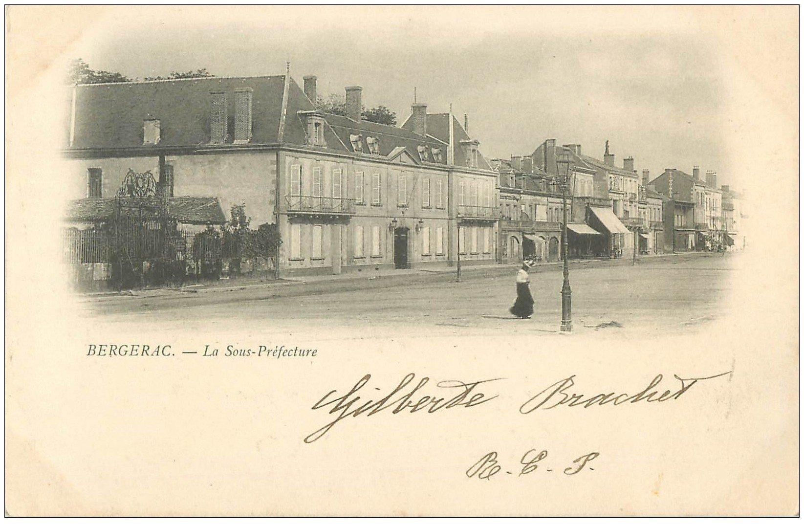 carte postale ancienne 24 BERGERAC. 1901 La Sous-Préfecture