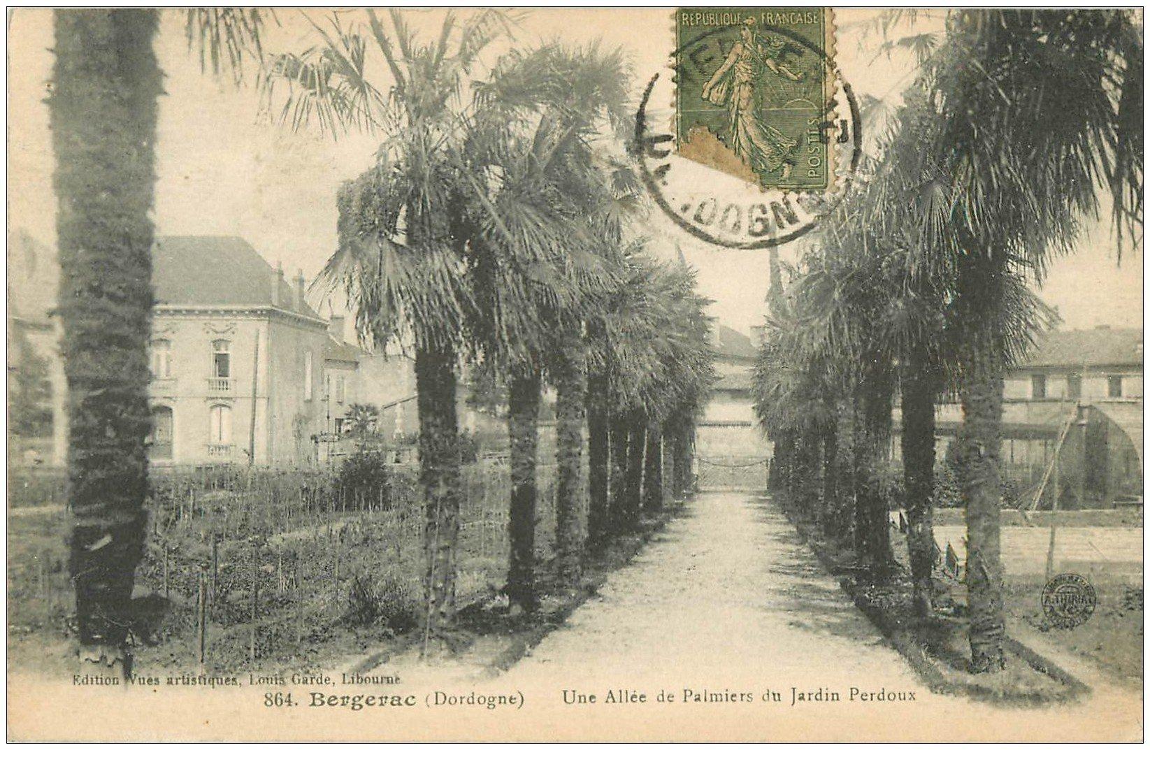 carte postale ancienne 24 BERGERAC. Allée de Palmiers du Jardin Perdoux 1917