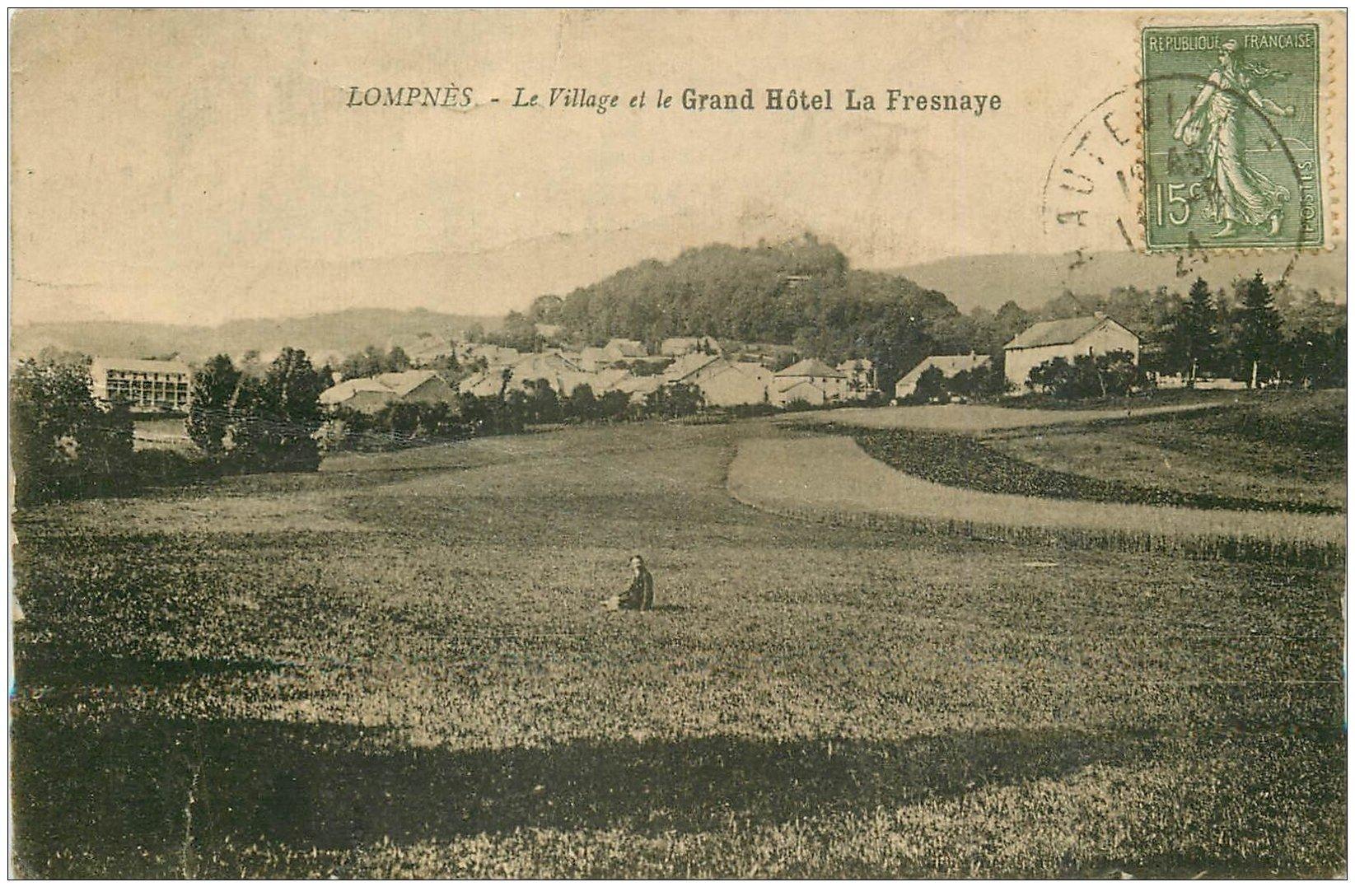 carte postale ancienne 01 LOMPNES. Village et Grand Hôtel La Fresnaye 1921