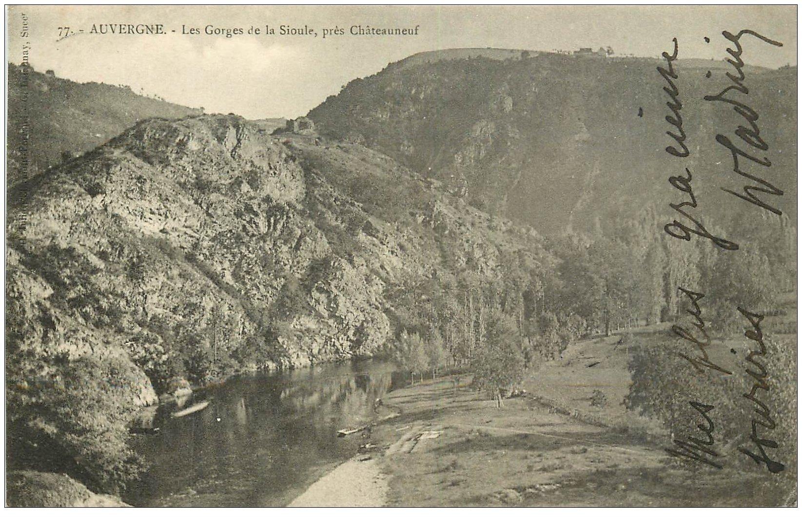 carte postale ancienne 03 SIOULE. Les Gorges 1904