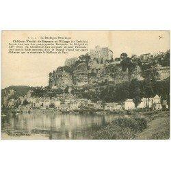 carte postale ancienne 24 BEYNAC. Village et Château