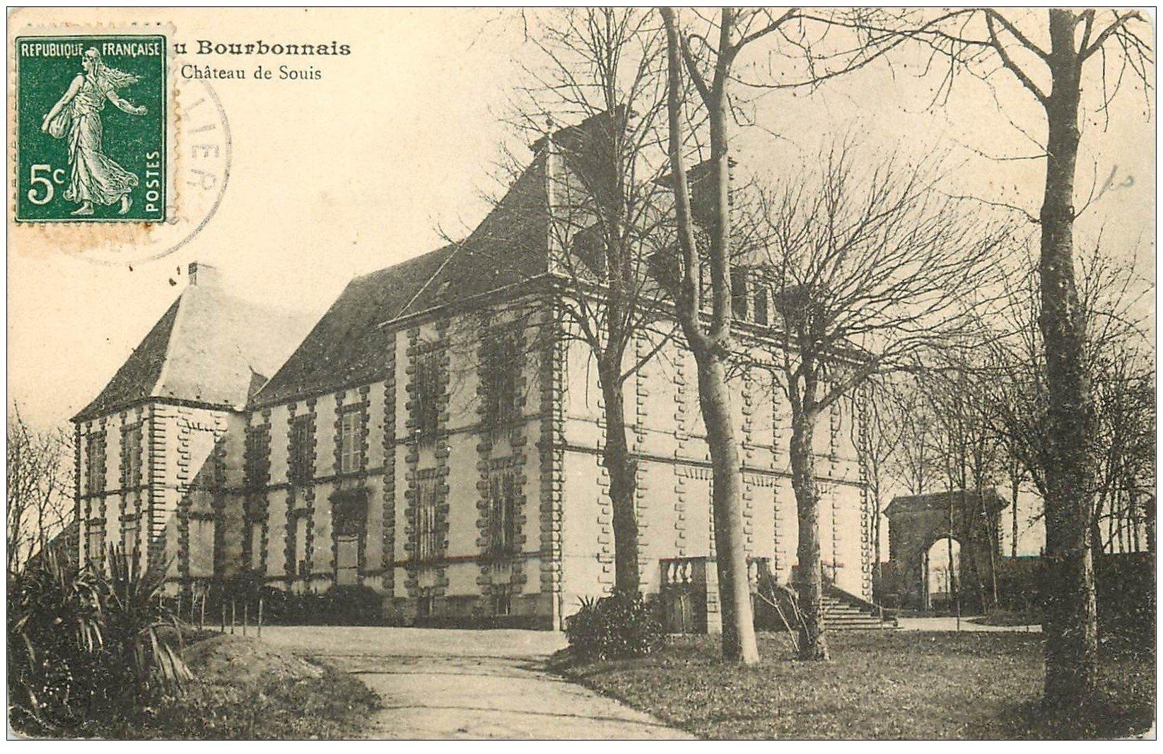 carte postale ancienne 03 SOUIS. Château. Carte pionnière vers 1910