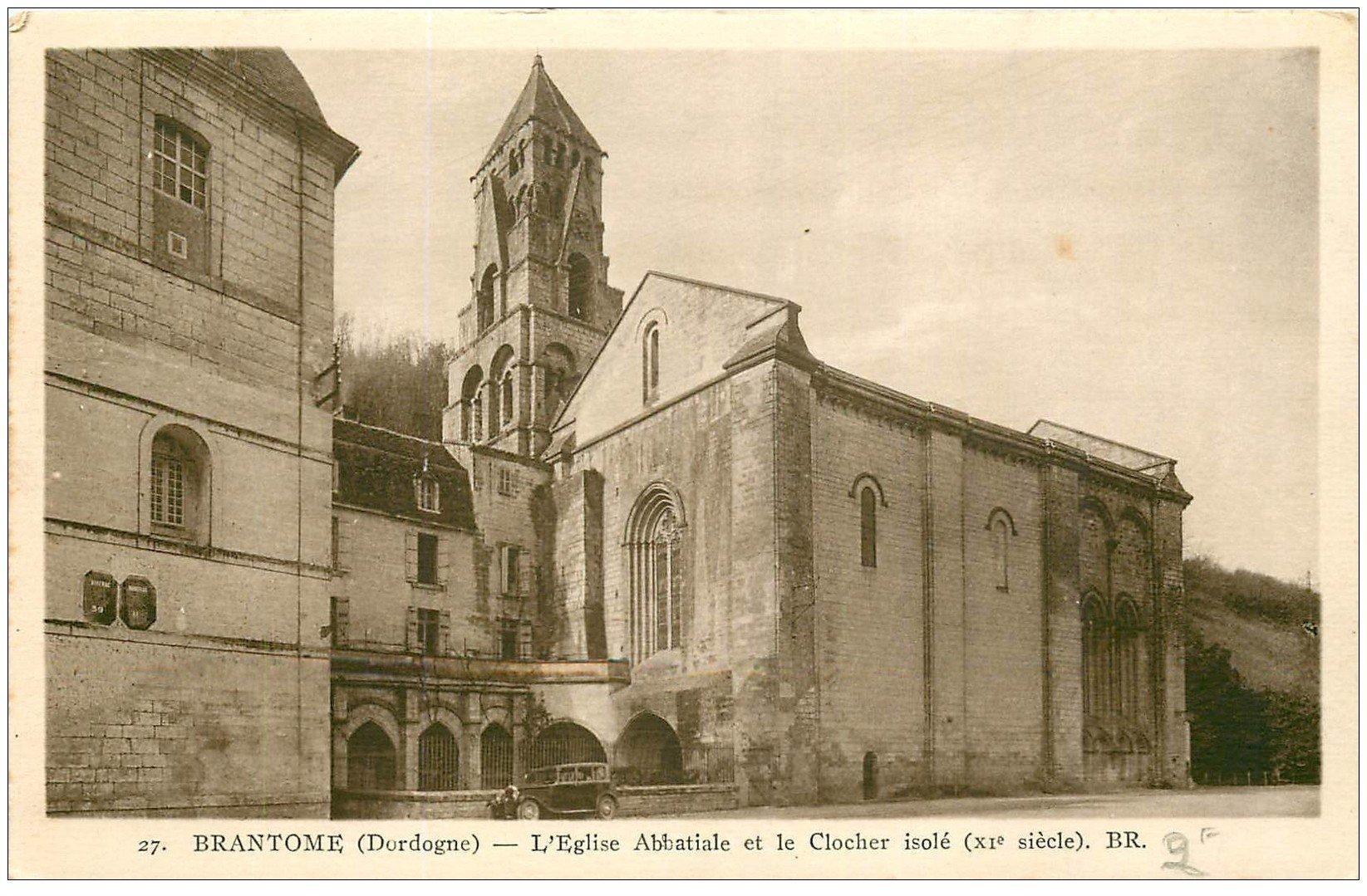 carte postale ancienne 24 BRANTOME. Eglise et Clocher isolé