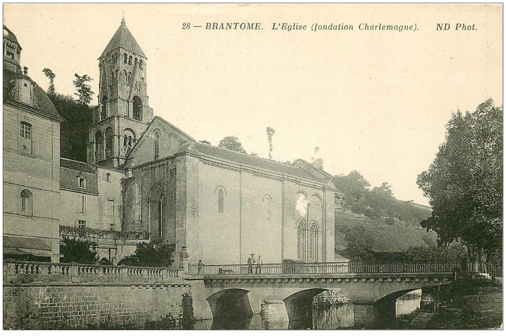 carte postale ancienne 24 BRANTOME. Eglise et Pont