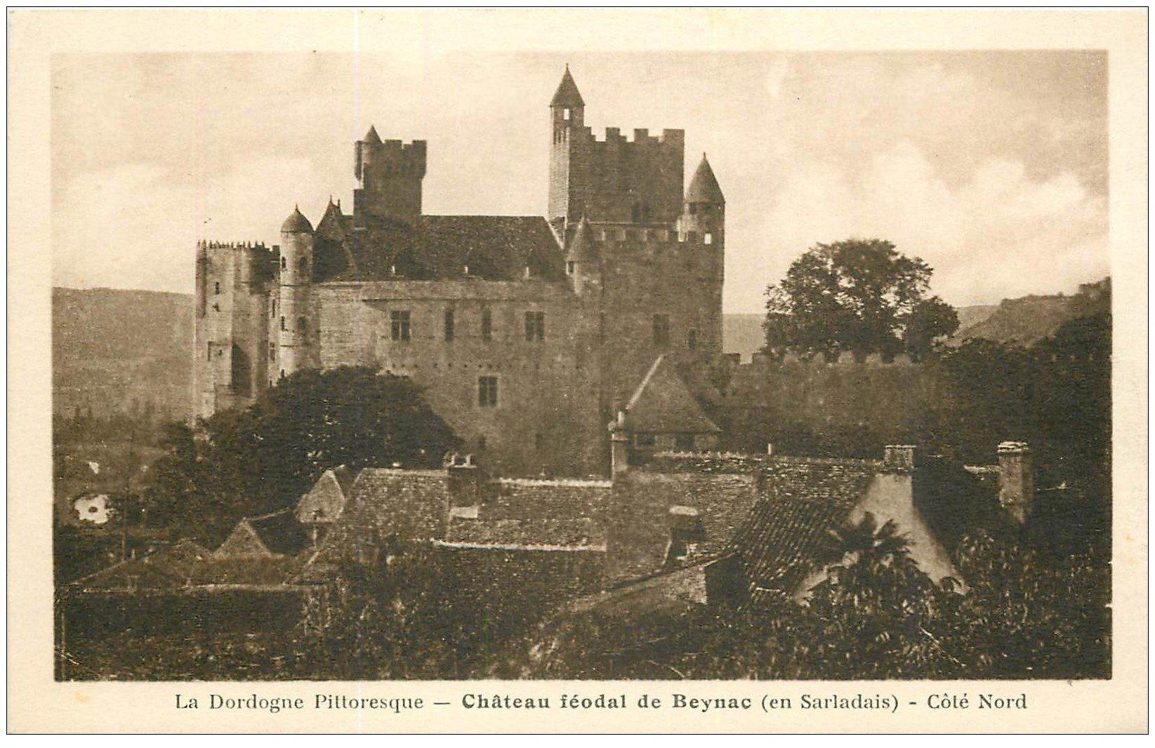 carte postale ancienne 24 CHATEAU DE BEYNAC côté Nord