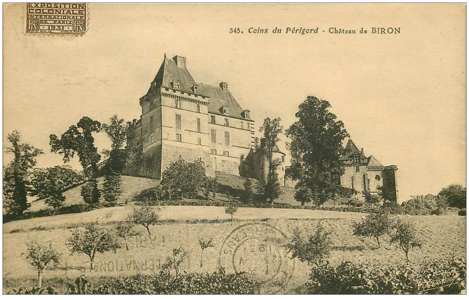 carte postale ancienne 24 CHATEAU DE BIRON 1931