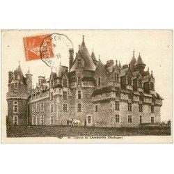 carte postale ancienne 24 CHATEAU DE LAMBERTIE. Avec Chevaux 1936