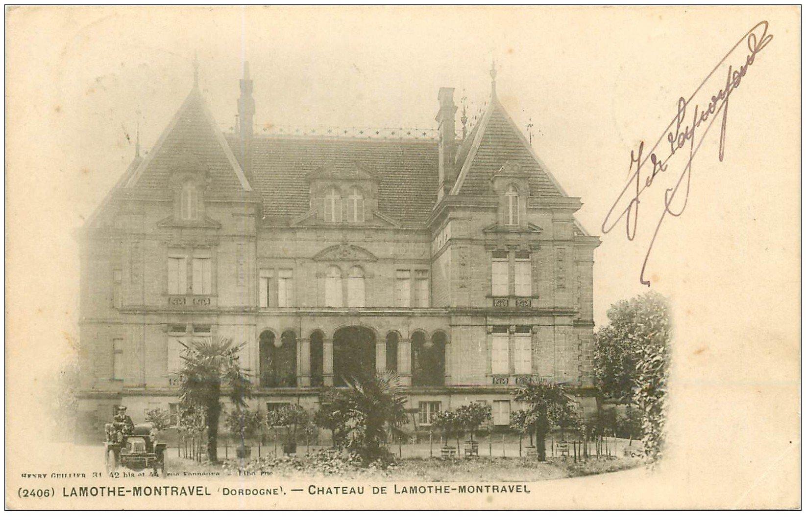 carte postale ancienne 24 CHATEAU DE LAMOTHE-MONTRAVEL. Voiture ancienne décapotable 1903