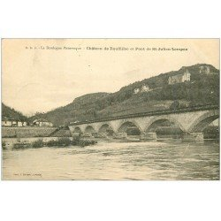 carte postale ancienne 24 CHATEAU DE ROUFFILLAC ET PONT DE SAINT-JULIEN-LAMPON 1913