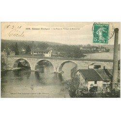 carte postale ancienne 24 COUZE. Pont et Usine de Rottersac 1916