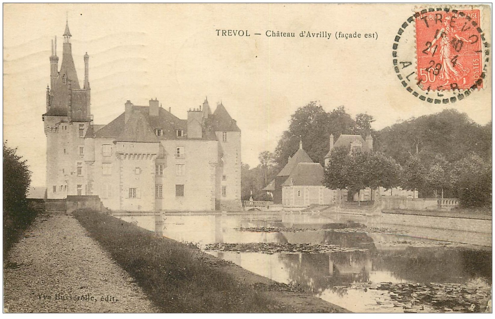 carte postale ancienne 03 TREVOL. Château d'Avrilly 1928