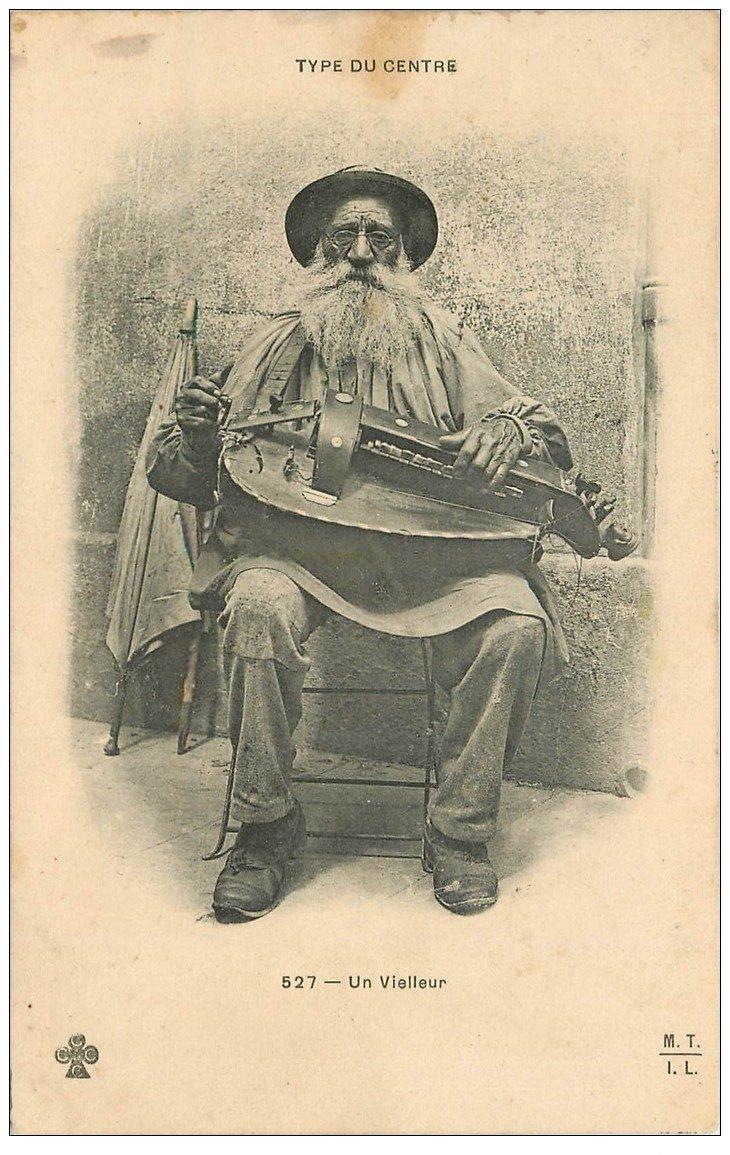 carte postale ancienne 03 Un Vielleur 1907. Musicien des Rues Vieux métiers