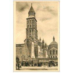 carte postale ancienne 24 PERIGUEUX. Les débuts de la Brocante et Clocher Cathédrale Saint-Front