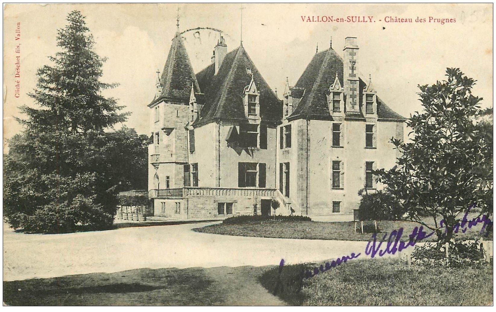 carte postale ancienne 03 VALLON-en-SULLY. Château des Prugnes vers 1905