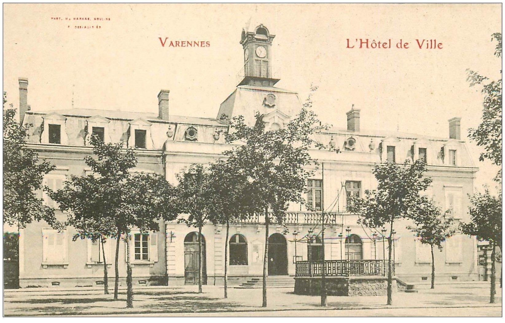 carte postale ancienne 03 VARENNES. Hôtel de Ville