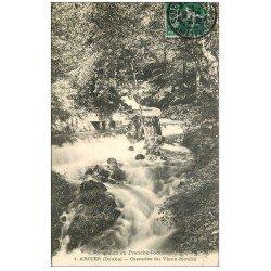 carte postale ancienne 25 ARCIER. Cascade du Vieux Moulin 1908