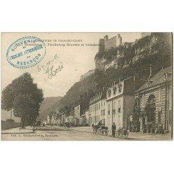 carte postale ancienne 25 BESANCON. Faubourg Rivotte et Citadelle 1915. Livreur de lait en charrette à bras