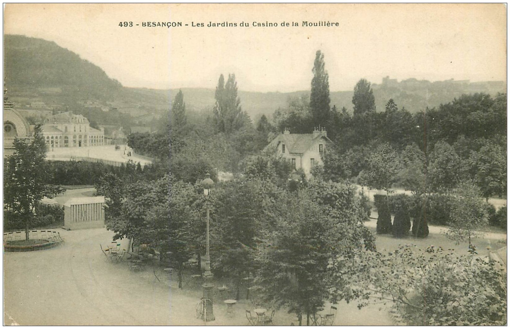 carte postale ancienne 25 BESANCON. Jardins du Casino de la Mouillière 1912