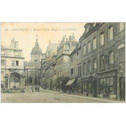 carte postale ancienne 25 BESANCON. Maison Victor-Hugo rue Saint-Jean. Pharmacie et Librairie