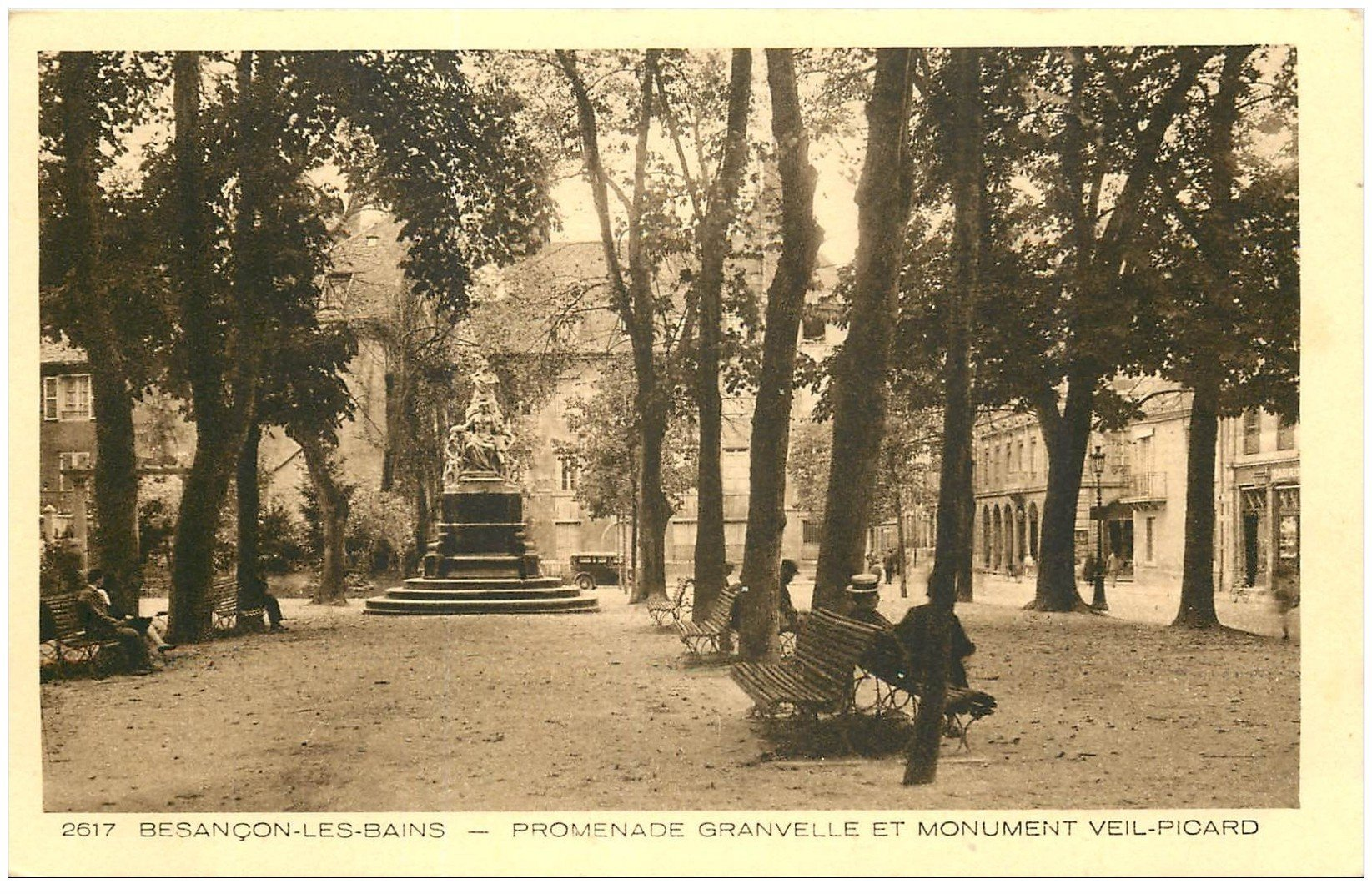 carte postale ancienne 25 BESANCON. Monument Veil-Picard Promenade Granvelle