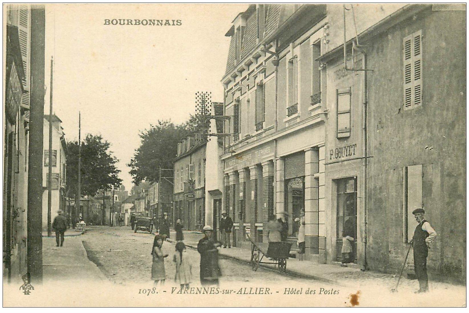 carte postale ancienne 03 VARENNES-sur-ALLIER. Hotêl des Postes 1919