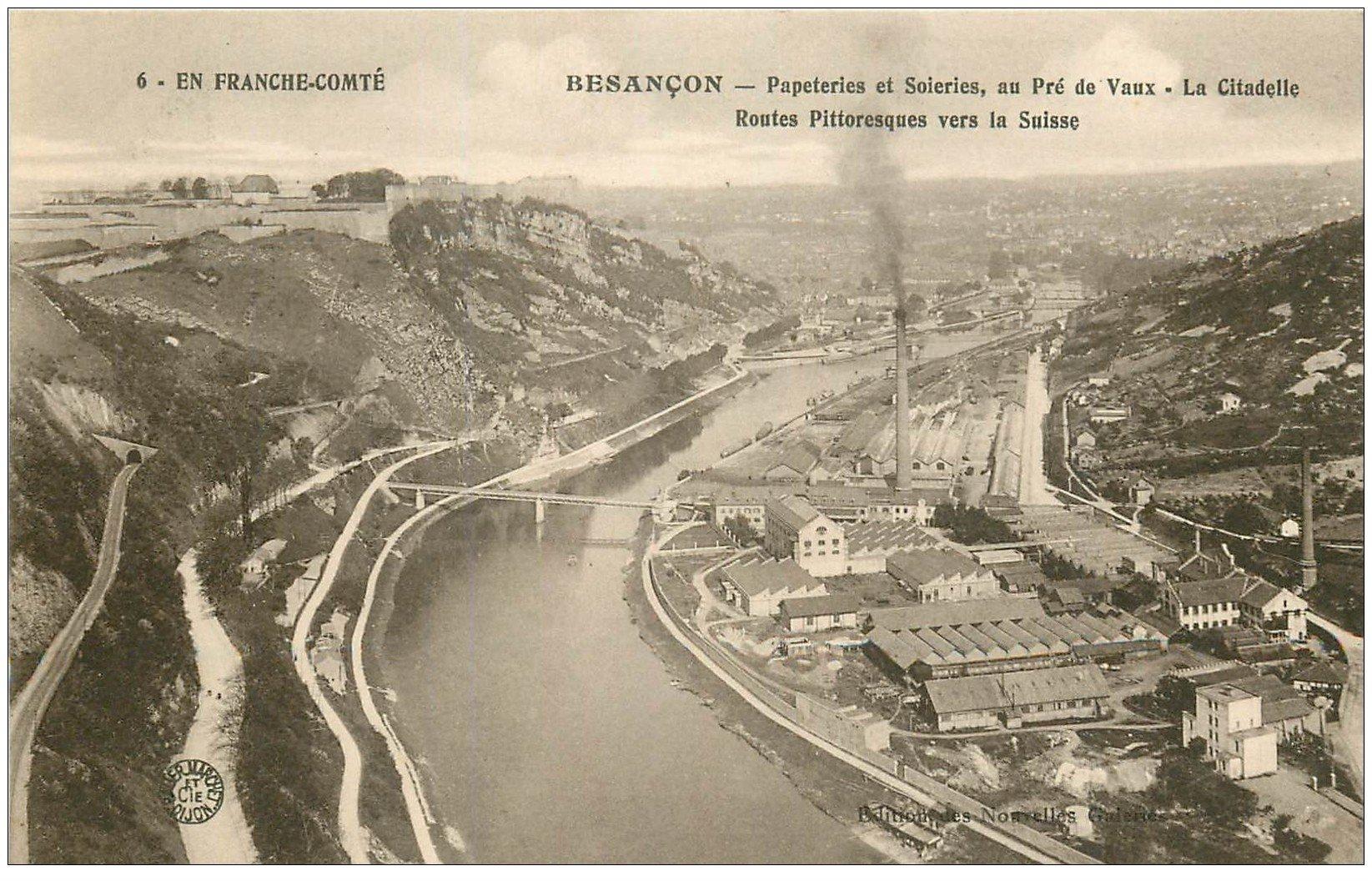 carte postale ancienne 25 BESANCON. Papeteries et Soieries au Pré de Vaux 1919