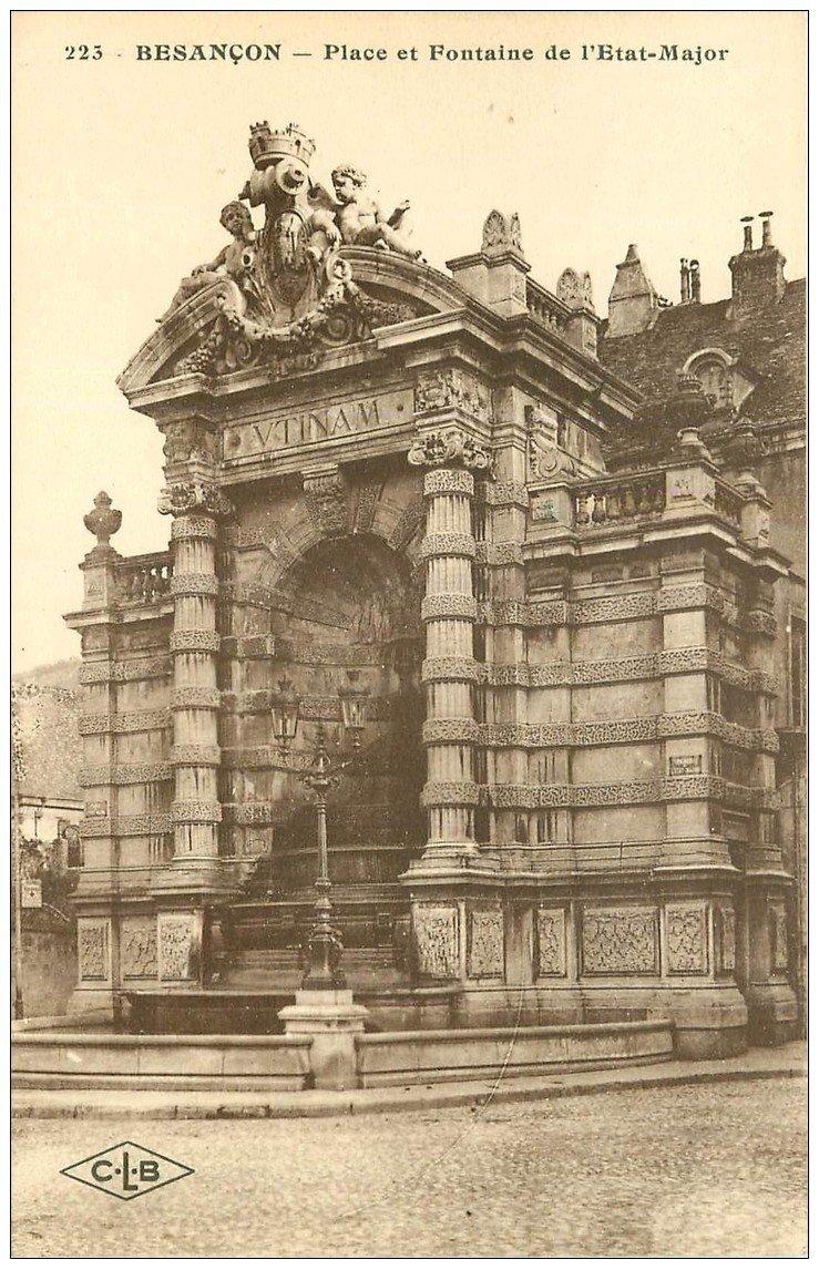 carte postale ancienne 25 BESANCON. Place et Fontaine de l'Etat Major