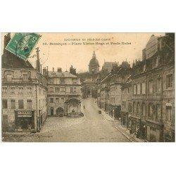 carte postale ancienne 25 BESANCON. Porte Noire Place Victor-Hugo 1914. Mercerie Les Economiques