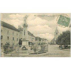 carte postale ancienne 25 CHARQUEMONT. Monument sur la Place 1924. Hôtel de la Poste