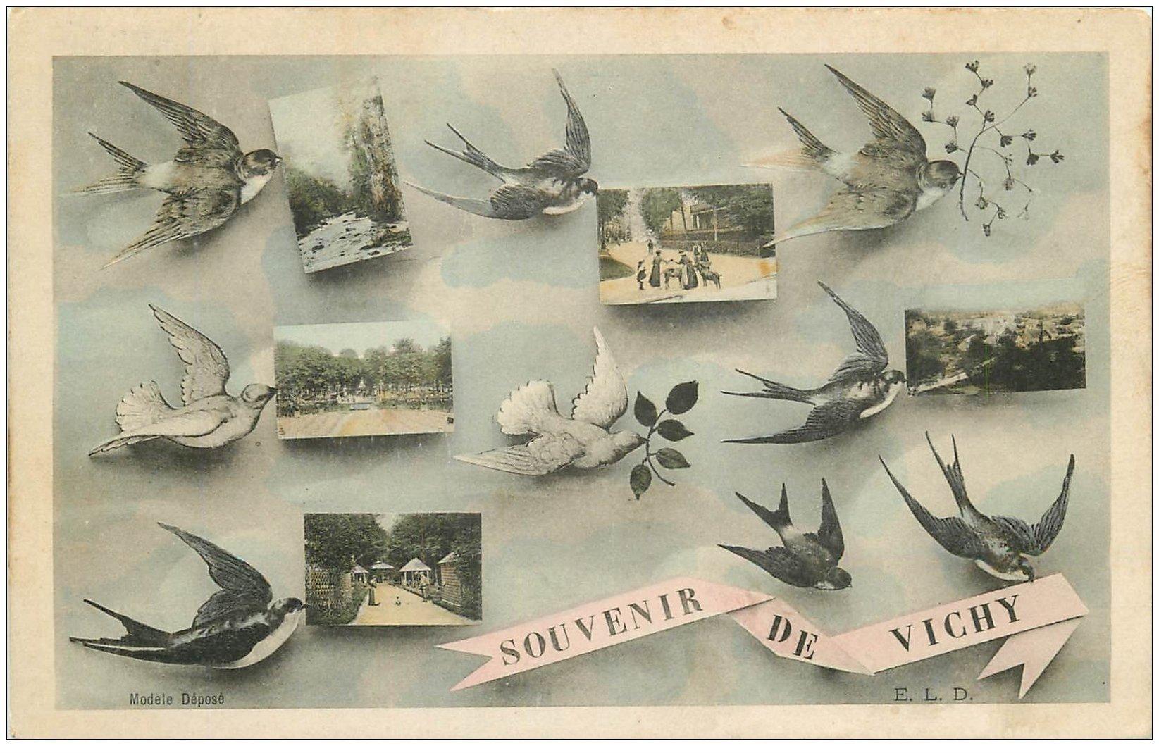 carte postale ancienne 03 VICHY. 1906 Souvenir Multivues