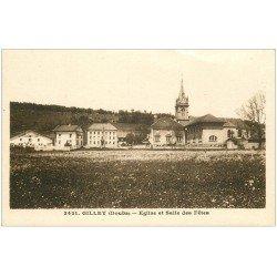 carte postale ancienne 25 GILLEY. Eglise et Salle des Fêtes