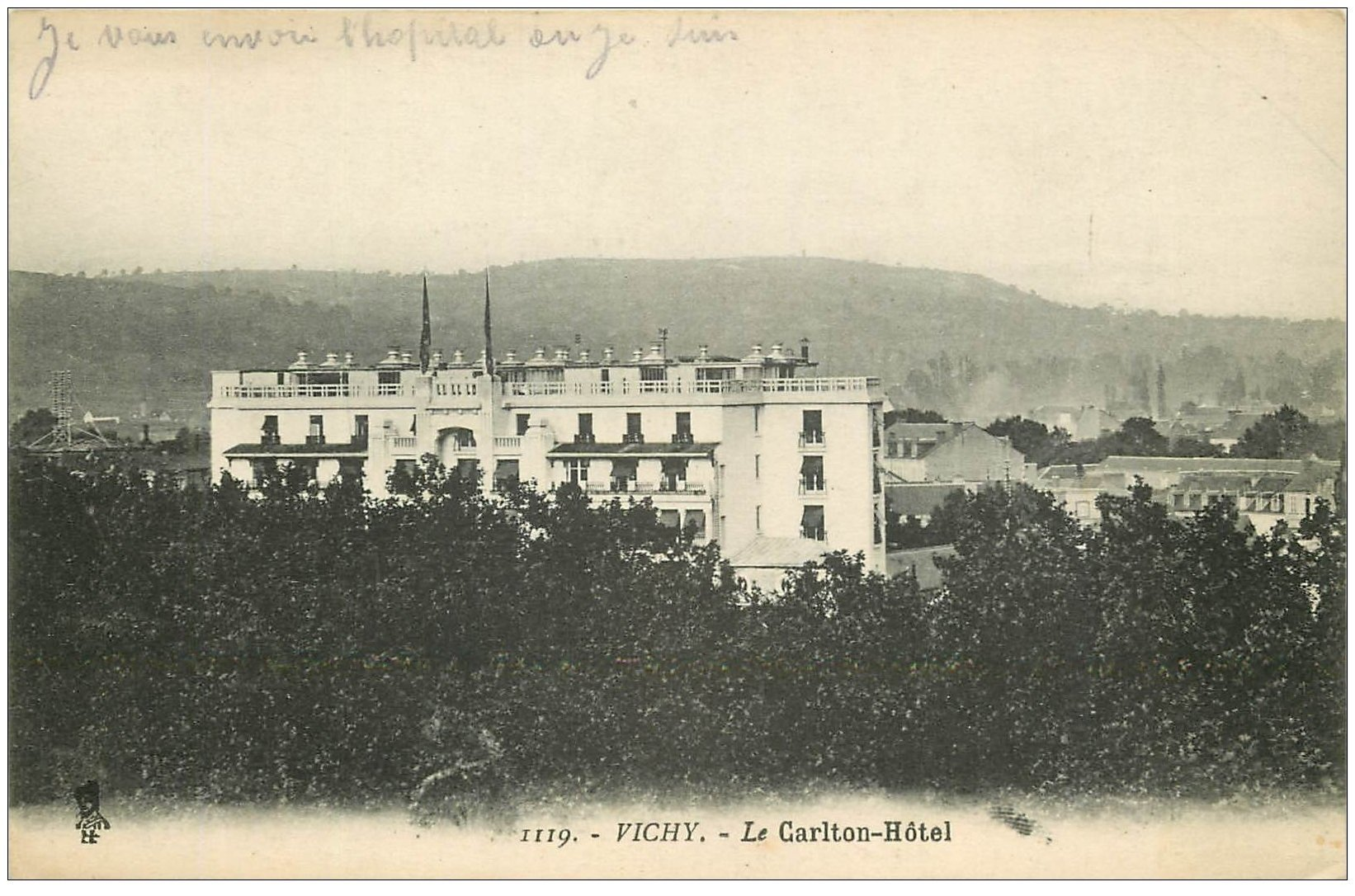 carte postale ancienne 03 VICHY. Carlton Hôtel 1915