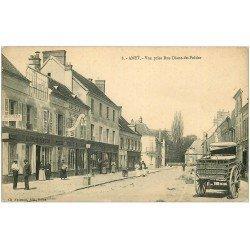 carte postale ancienne 28 ANET. Rue Diane-de-Poitiers. Librairie Imprimerie 1915. Panneau Cartes Postales