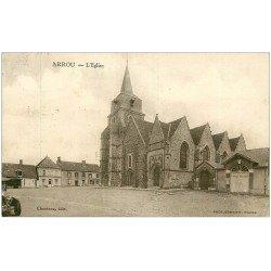 carte postale ancienne 28 ARROU. L'Eglise 1931 Café du Commerce et l'avant d'une voiture ancienne