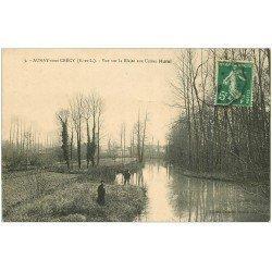 carte postale ancienne 28 AUNAY-SOUS-CRECY. La Blaise aux Usines Hurel 1912 animation
