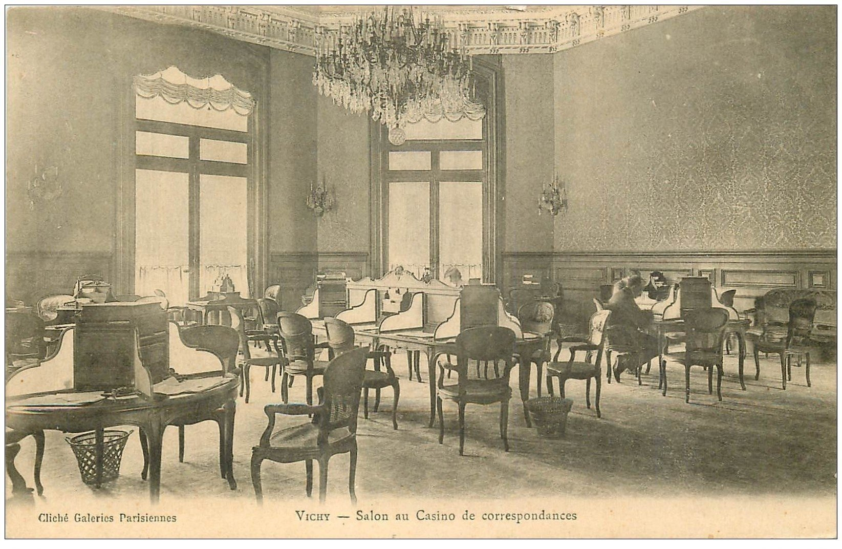 03 vichy casino salon de correspondances vers 1900 for Salon carte postale