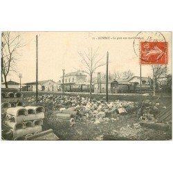 carte postale ancienne 28 AUNEAU. La Gare aux Marchandises 1908
