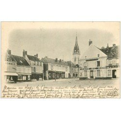 carte postale ancienne 28 AUNEAU. Place de l'Eglise 1902. Café du Commerce