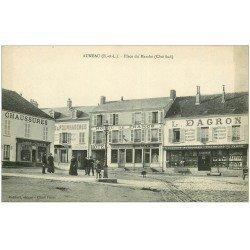 carte postale ancienne 28 AUNEAU. Place du Marché. Hôtel de France et Quincaillerie Dragon