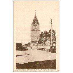 carte postale ancienne 28 BERCHERES-LES-PIERRES. Eglise Rue Princiapale et voiture ancienne
